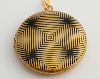Locket Necklace with Photo Placement Included Black and Gold Geometric Hypnotic Unique Design Gift Photo Jewelry Custom For Her Gifts Mom