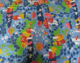 Vintage Cotton Fabric Concord Fabrics Inc. 1 1/8 yards x 44 inches Turtles, rabbits, frogs etc.