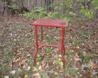 Vintage Primitive Shabby Red Metal Rolling Table Stand