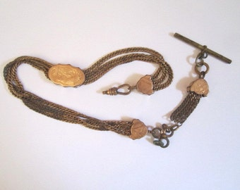 Antique Edwardian Elaborate Gold Fill Watch Chain with Slide