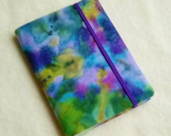 Batik Covered Pocket Memo Book, FIRE OPAL, Refillable Mini Composition Notebook Cover