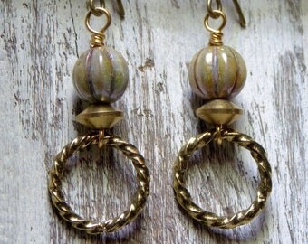 Sale Textured Brass Gold Ring Earrings Czech Earrings Boho Earrings Dangle Small Earrings Jewelry