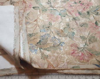 Upholstery weight Champagne taupe Muted Pinks blues Brocade just over 2-2/3yd