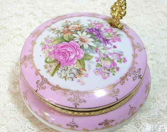 Napco Floral Painted Porcelain Box With Brass Fittings