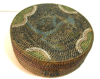 Painted Woven Basket With Lid