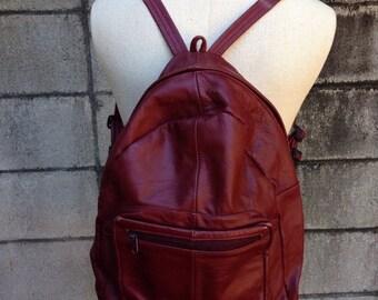 Leather Backpack Vintage 1980s Maroon Patchwork