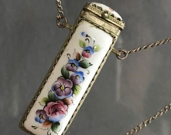 Old Hand painted Silver Perfume pendant . necklace  . Vinaigrette . Enamel Jewelry