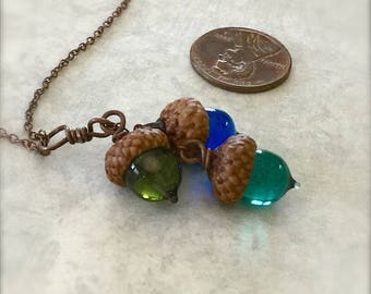 Glass Triple Acorn Necklace - Jewel Tones - by Bullseyebeads