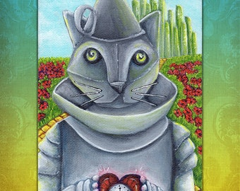Wizard of Oz, Tin Man Cat, Emerald City 5x7 Cat Art Print