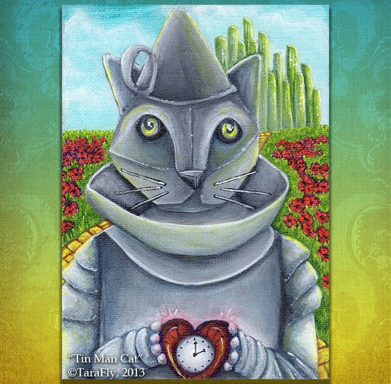 Tin Man Cat Wizard of Oz 5x7 Cat Art Print