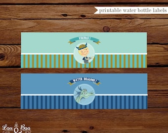 Water Dragon vikings Birthday Printable Water bottle labels