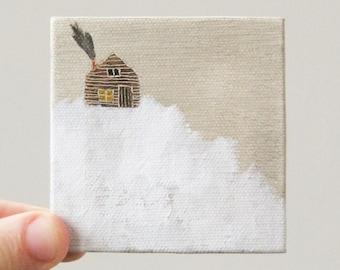 log cabin / original painting on canvas