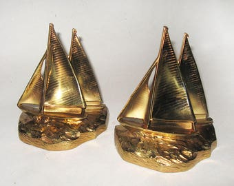 Gold Metal Sailboats Bookends Early Philadelphia MFG Nautical Decor Yachts with Sail Numbers
