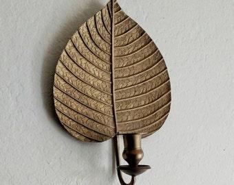 Vintage Indian made | gold | leaf | sconce | 1970s | Rosenthal Netter | brass | gold tone |