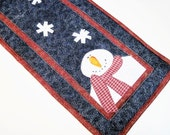 Quilted mini table runner Holiday Christmas Snowman snowflakes winter Quiltsy Handmade