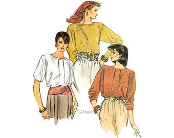 Easy Blouse Patterns Vogue 8609 Loose-fitting Pullover Tops, Size 8 10 12, Vintage Sewing Pattern, Uncut