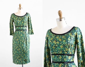 vintage 1950s dress / early 1960s dress / Green Floral Silk Wiggle Cocktail Dress