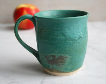 Copper Green Stoneware Mug Ceramic Pottery Coffee Cup Ready to Ship Made in USA