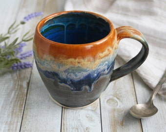 Large Handcrafted Pottery Mug with Dripping Gold, Blue and Gray Glazes Wheel Thrown Coffee Cup Made in USA Ready to Ship