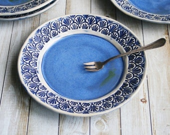 Set of Four Rustic Modern Side Plates in Indigo Blue and White Handcrafted Stoneware Dinnerware Made in the USA Ready to Ship