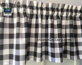 "Buffalo Check Large Black and White 1"" Check Curtain Window Treatment 14"" Valance by Idaho Gallery"