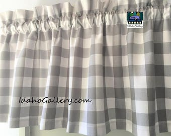 """Buffalo Check Large Gray and White 1"""" Check Curtain Window Treatment 14"""" Valance by Idaho Gallery"""
