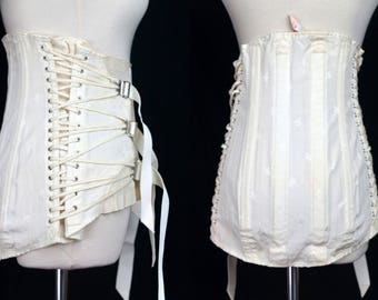 1960s Medical Corset Lace Up Shapewear OTC Medium Large Boning Waist Cincher Trainer Posture