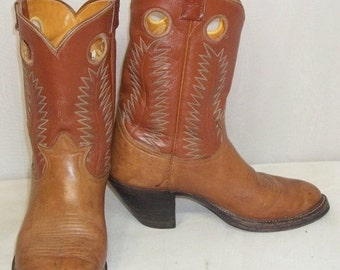 SWEETHEART SALE Vintage Buckaroo Short Leather Tony Lama Cowboy Boots Girls Womens 7 1/2 BOHO