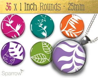 Mod Leaves and Vines ( Brights) - One (1x1) Inch (25 mm) Round Digital Collage For Pendant Images - Buy 2 Get 1 Free - Bottle Caps