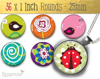 Charming Critters - (1x1) One Inch or 25 mm Round Pendant Images - Digital Images - Buy 2 Get 1 Free - Instant Download - Bottle Cap Images