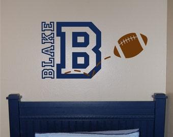 Football Name & Initial Wall Decal - Football Wall Decal - Sports Wall Decal - Personalized Football Wall Decal - Boy Wall Decal - Football