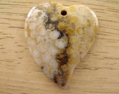 Broken Heart Fossil Coral Gemstone Pendant Bead, Fossil Jewelry, Geology Gift, Valentine Supply, Heart Pendant, Gemstone Jewelry