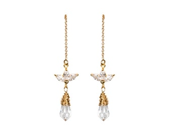 ISABEAU | crystal drop chain earrings, gold crystal earrings, minimalist bridal earrings