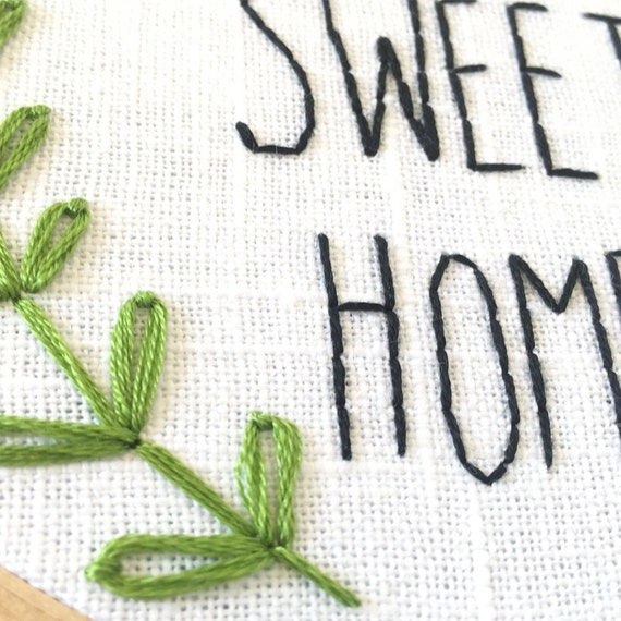 Home sweet embroidery pattern instant download pdf