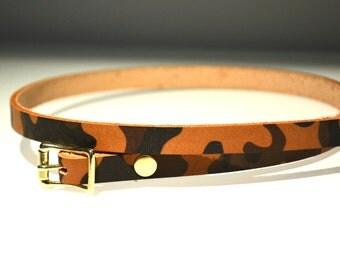 Skinny Belt - Ladies Belt - camo Belt - Leather Belt - Camouflage Leather Belt - Ladies Skinny Belt - Custom Belt - Ladie's Leather Belt