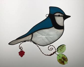 Blue Jay Suncatcher in Stained Glass