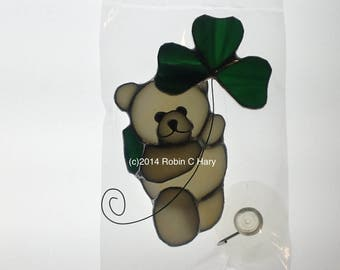 St. Patrick's Day Bear Suncatcher in Stained Glass