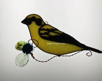 Golden Tanager Suncatcher in Stained Glass