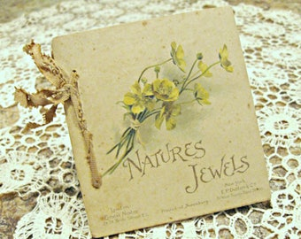 """Antique booklet / book of prose, sweet, small, romantic, ribbon, """"Natures Jewels"""", London, New York. Collectible ephemera."""