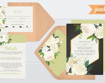 Green and Gray Floral Wedding Invitation | printable | watercolor flowers | roses