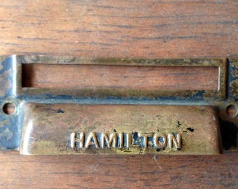 ONE Hamilton Antique printers type tray brass and/or copper HANDLE pull with identity label slot