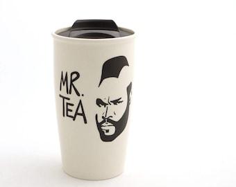 Mr T Tea Travel Mug with Lid Kiln Fired, great gift for Dad, him, tea lover - 16 oz large ceramic travel mug