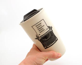 Ron Swanson travel mug, typewriter, Parks and Recreation, large 16 oz ceramic mug with lid , Parks and Rec, every word I know