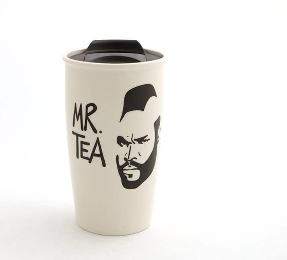 Mr T Tea Travel Mug with Lid Kiln Fired, great gift for Dad, him, tea lover - 16 oz large ceramic travel mug