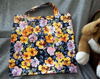 Book Lunch N Small Gift Tote Bag, Love of Pansies Print
