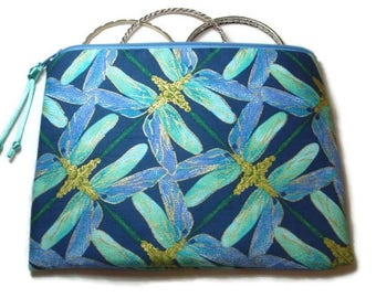 Padded Zipper Cosmetic Pouch in Blue Dragonfly Kaleidoscope Print
