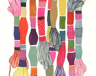 Threads... - limited edition giclee print of an original watercolor illustration (8 x 10 in)