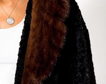 The Dan Millstein 1960s Mink Fur Trim Black Coat