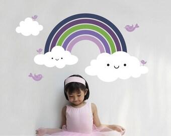 Rainbow Wall Decal Cute Baby Nursery Rainbow Room Theme Wall Decor