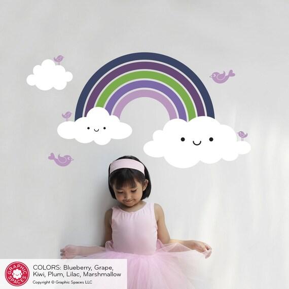Rainbow wall decal cute baby nursery rainbow room theme wall for Rainbow themed baby nursery